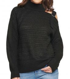 Black Cut-Out Shoulder Sweater