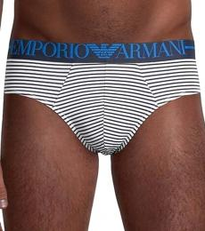 Emporio Armani White Striped Logo Briefs