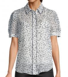 Diane Von Furstenberg Floret Ivory Floral Puff-Sleeve Shirt