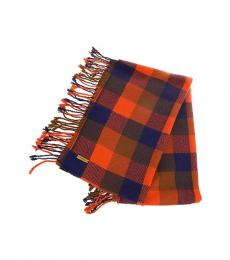 Coach Red Multi Plaid Fringy Scarf
