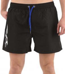 Diesel Black Logo Print Swim Shorts