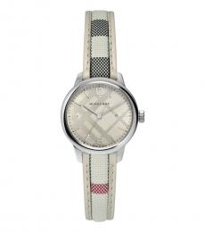 Burberry White Classic Sunray Dial Watch