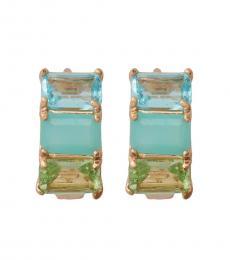 Blue Gold Huggie Earrings