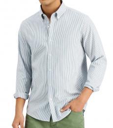 Michael Kors Green Slim-Fit Stripe Oxford Shirt
