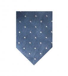 Tom Ford Blue Silver Polka Dot Tie