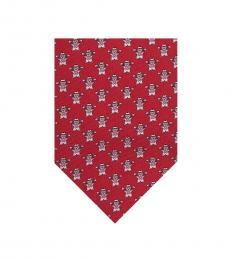 Salvatore Ferragamo Red Bunny Silk Tie
