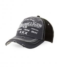 True Religion Factory Grey Distressed Embroidered Baseball Cap