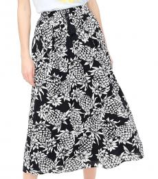 J.Crew Pineapple Navy Smocked-Trim Maxi Skirt