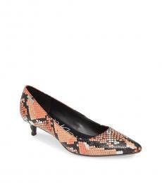 Calvin Klein Orange Snake Print Gabrianna Heels