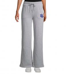 Heather Grey Logo Wide-Leg Pants