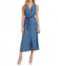 DKNY Indigo Wash V-Neck Belted Midi Dress