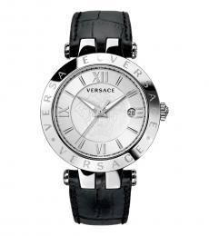 Versace Black V-Race Silver Dial Watch