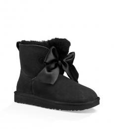 Black Gita Bow Mini Boots