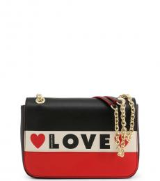 Love Moschino Black Logo Stripe Medium Shoulder Bag