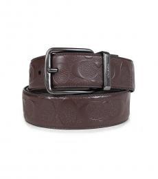 Coach Mahogany Wide Harness Reversible Belt