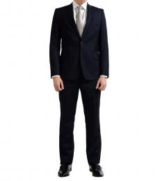 Blue Wool Cashmere Two Button Suit
