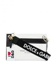 Dolce & Gabbana Black Printed Logo Medium Shoulder Bag