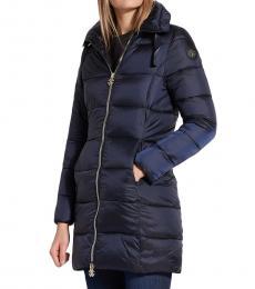 Roberto Cavalli Blue Long Puffer Jacket