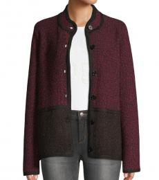 Karl Lagerfeld Cherry Marble Colorblock Tweed Jacket