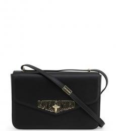 Black Turnlock Medium Shoulder Bag