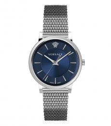 Versace Silver Blue Dial Watch
