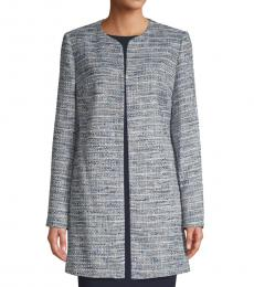 Karl Lagerfeld Blue Split-Neck Tweed Jacket