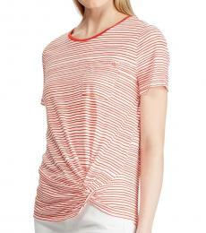 Ralph Lauren Orange Striped Twist-Knot Top
