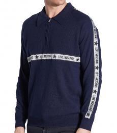 Love Moschino Dark Blue Logo Zip Sweater