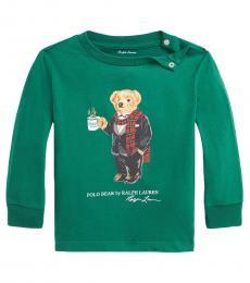Ralph Lauren Baby Boys Hunter Green Coffee Bear T-Shirt