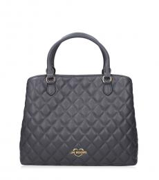 Grey Quilted Medium Satchel