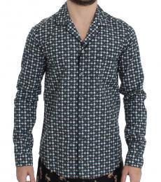 Dolce & Gabbana Green Hat Print Pajama Shirt