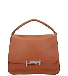 Tod's Light Brown Double T Medium Satchel
