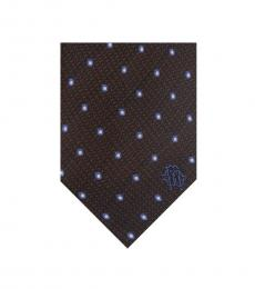 Brown Geometric Polka Dot Tie