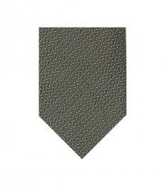 Tom Ford Dark Green Zig Zag Pattern Silk Tie