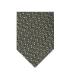 Tom Ford Dark Green Zig Zag Pattern Silk Tie