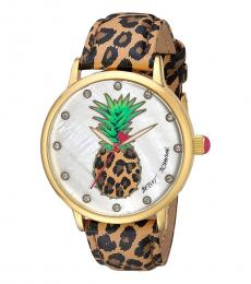 Betsey Johnson Brown Leopard Printed Watch