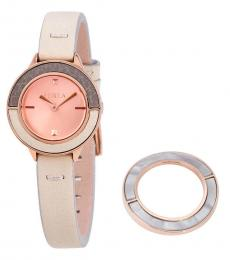 Furla White Club Rose Gold Dial Watch