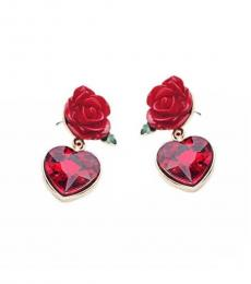 Red Exquisite Rose Hearts Earrings