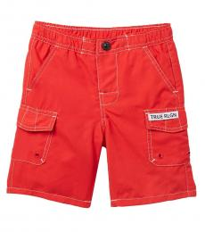 True Religion Little Boys Red Cargo Shorts