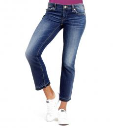 True Religion Indigo Bell Bottom Cropped Jeans