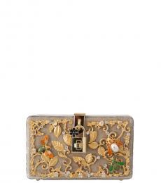 Dolce & Gabbana Beige Baroque Crystal Clutch