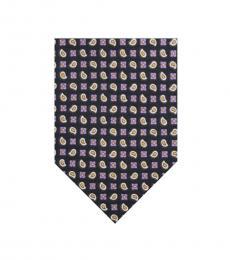 Ralph Lauren Purple Squares Paisley Silk Tie