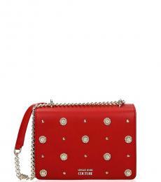 Versace Jeans Red Studded Medium Shoulder Bag