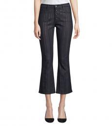 Gunmetal High-Rise Metallic Crop Jeans