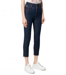 Dark Blue High Rise Cotton Jeans
