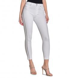 White Side Stripe High-Rise Jeans