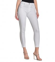 7 For All Mankind White Side Stripe High-Rise Jeans
