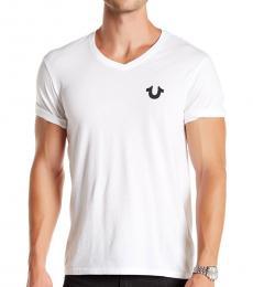White Logo V-Neck T-Shirt