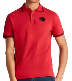 Just Cavalli Red Mascot Logo Polo