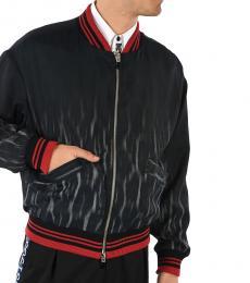 Just Cavalli Black Animal Printed Bomber Jacket